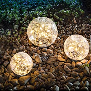 """Garden Solar Lights Cracked Glass Ball Waterproof LED for Outdoor Decor Decorations Pathway Patio Yard Lawn, Warm White 2 Globe (3.9"""")"""