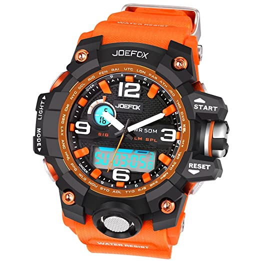 Kalender 1523 Kinder Joefox Sport Herren Wasserdicht No Band Quarz Alarm Armbanduhr 5atm Orange Harz Chronograph Led Digital mn0yvOwN8
