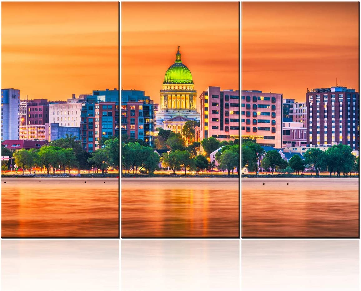 Madison City Skyline Night Modern Stretched and Framed Wisconsin Cityscape Giclee Canvas Prints Pictures Paintings on Wall Art for Living Room Bedroom Home Decorations - 28'' x 14'' x 3 panels