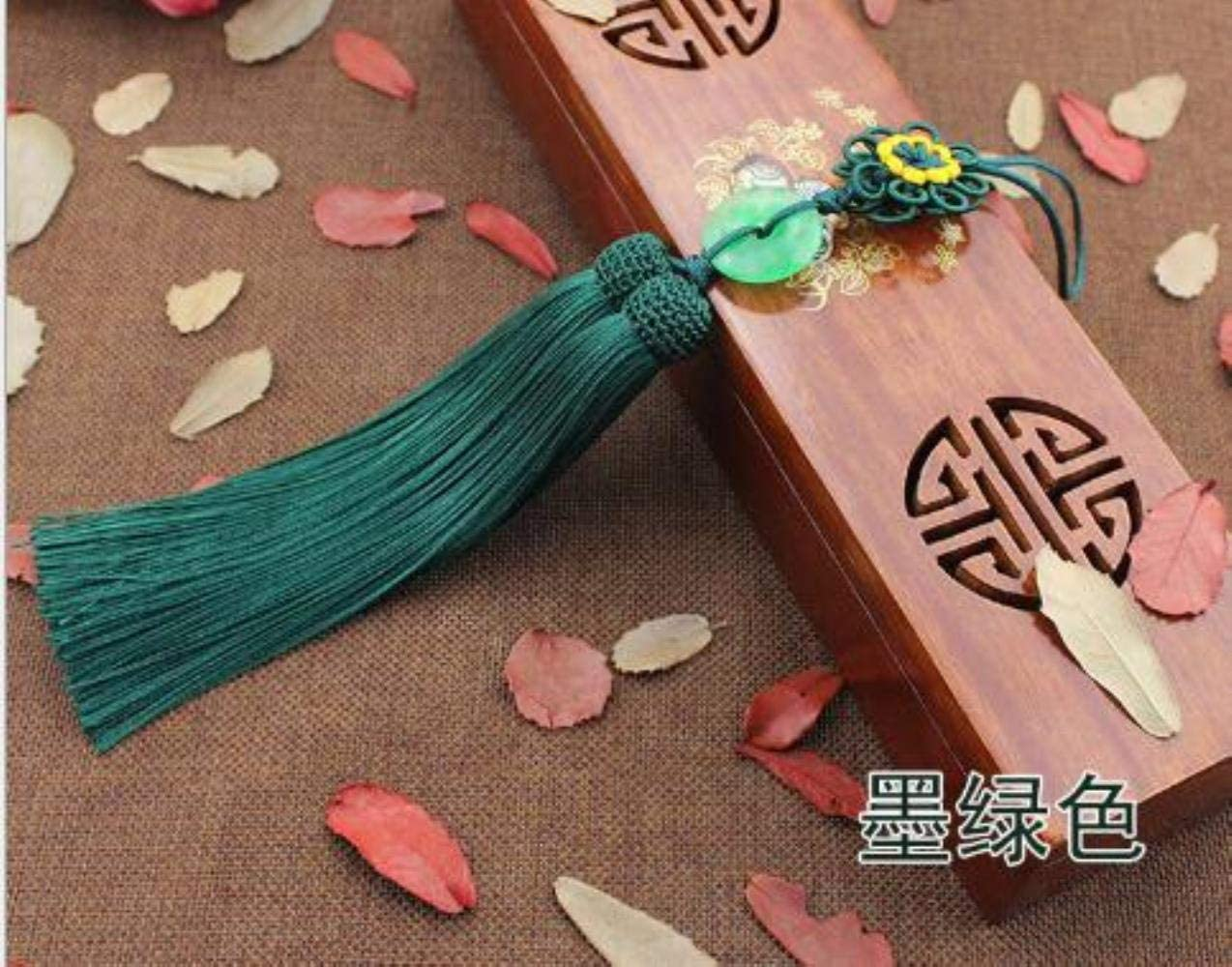 Mingi 1 pcs borlas 33 cm de Largo Colgante de Jade Nudo Chino Borla ColganteJade Borla Significa Paz, Verde Oscuro, 33 cm