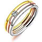 Rockyu ジュエリー ブランド 3連リング レディース 指輪 チタン ダイヤ 金 18k ピンクゴールド シルバー