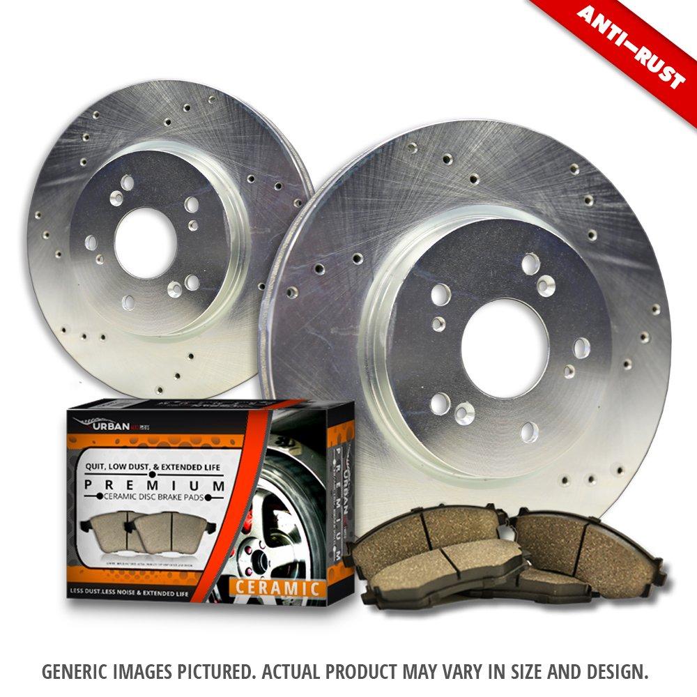 2 Heavy Duty Zinc Plated Cros Drill Brake Rotor -Combo Brake Kit 4 Ceramic Pad Front Kit 5lug