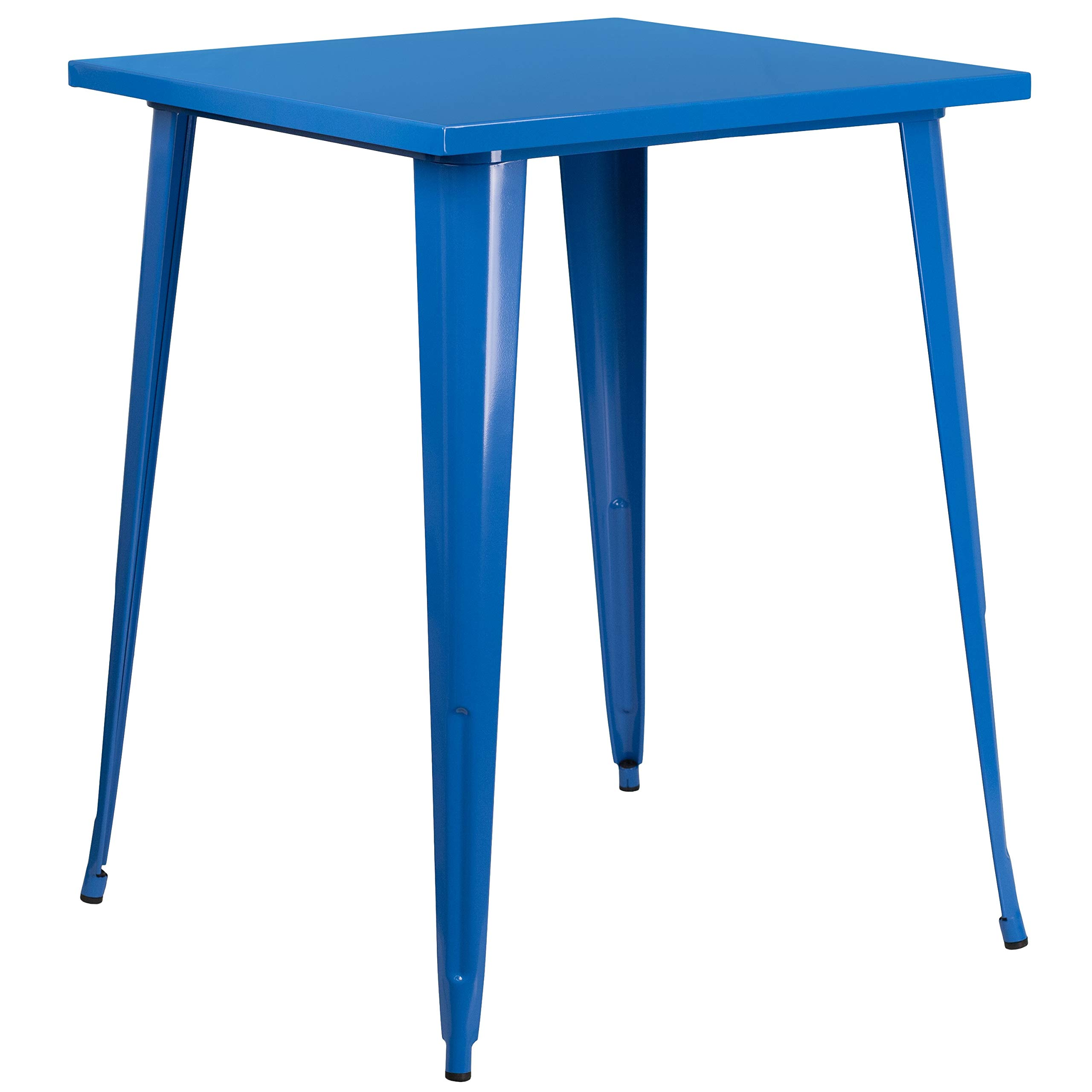 MFO 31.5'' Square Blue Metal Indoor-Outdoor Bar Height Table by My Friendly Office