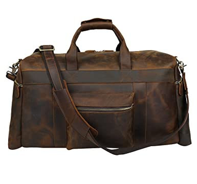 4177ff20d1 Texbo Men s Thick Cowhide Leather Vintage Big Travel Duffle Luggage Bag