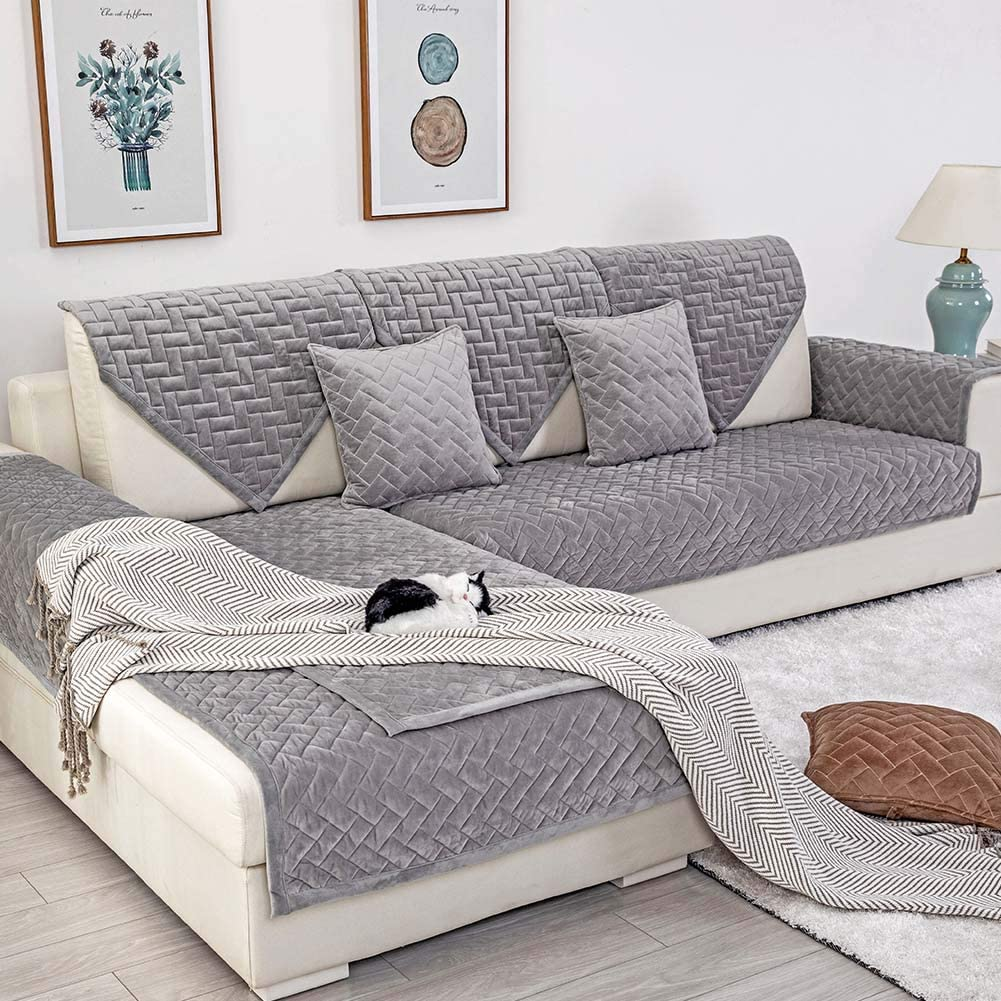 Deep Dream Sofa Slipcover, Velvet Sectional Sofa Covers Furniture Protector Anti-Slip Couch Covers for Dogs Cats Kids Gray (Sold by Piece/Not All Set)
