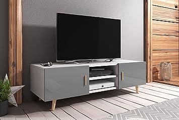 Rivano 2 – Mueble TV Moderno / Mesa para TV (140 cm, Blanco Mate / Frentes Grises en Brillo): Amazon.es: Electrónica