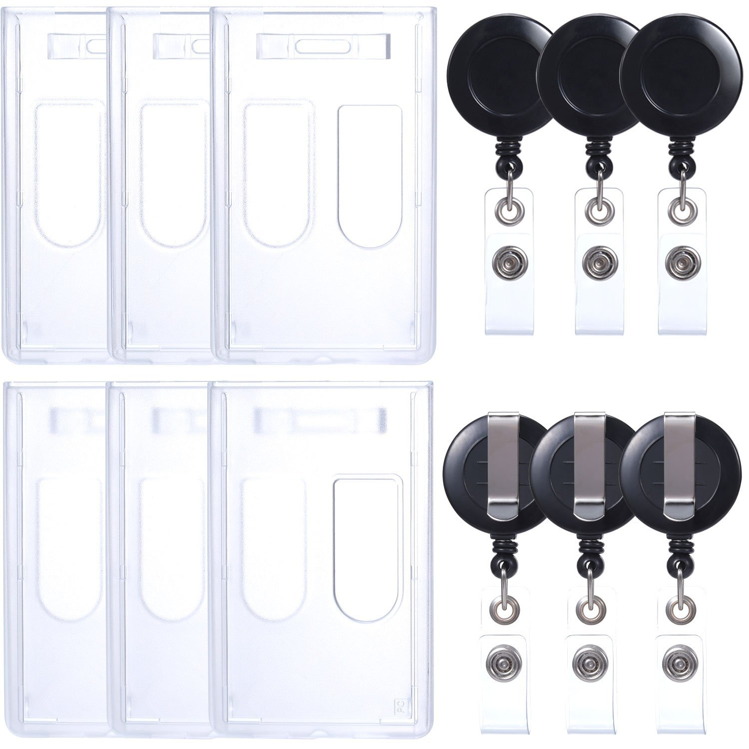 SATINIOR Retractable ID Badge Holder, Heavy Duty ID Badge Holder 2-Card Slot with Retractable Badge Reel for Office Company Employee School Student ID Card (6 Set)