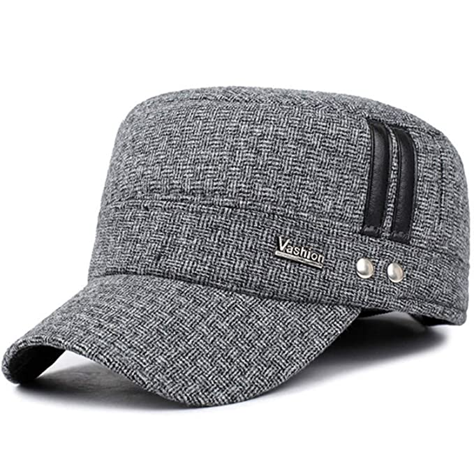 52428128ec1 Jeremy Stone Winter Cotton Hats Men caps hat with Earflaps Keep Warm Flat  roof Baseball caps Old Men Thicken Snapback Brown at Amazon Women s  Clothing store ...