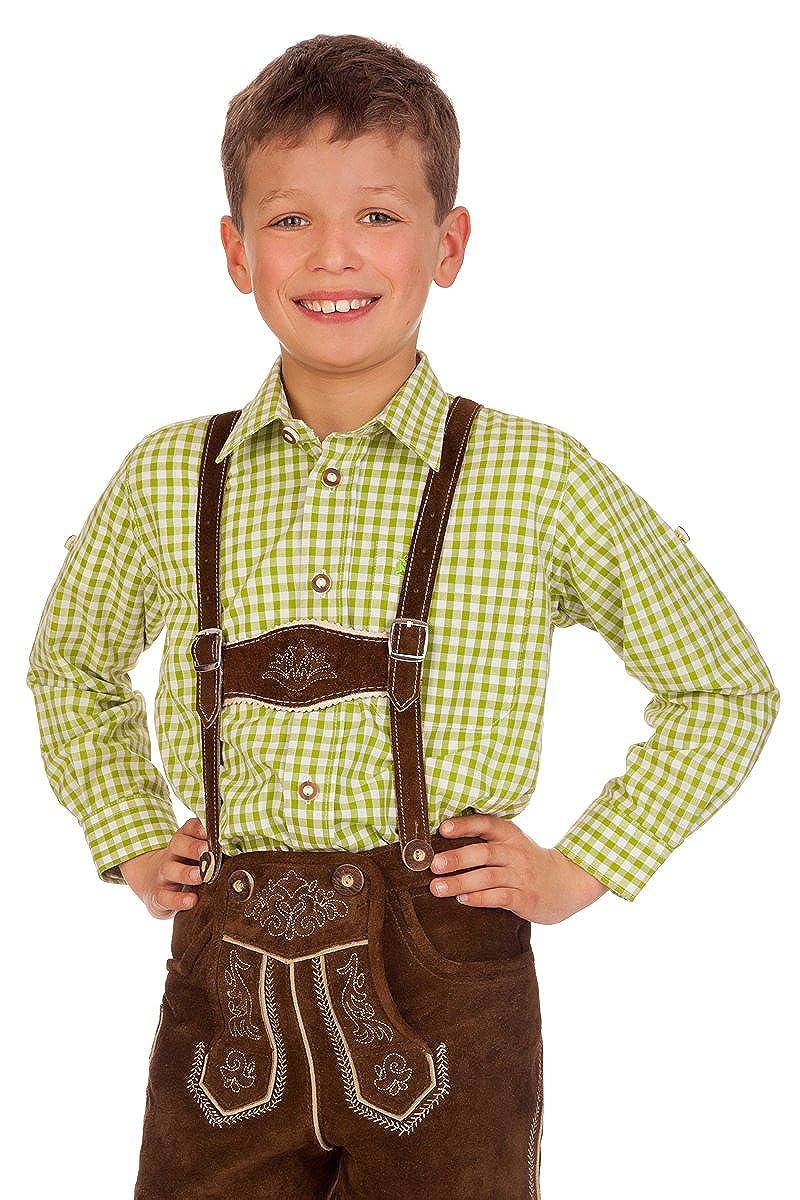 Trachten Kinderhemd - Ki-H038 - PETERLE - türkis, apfelgrün apfelgrün