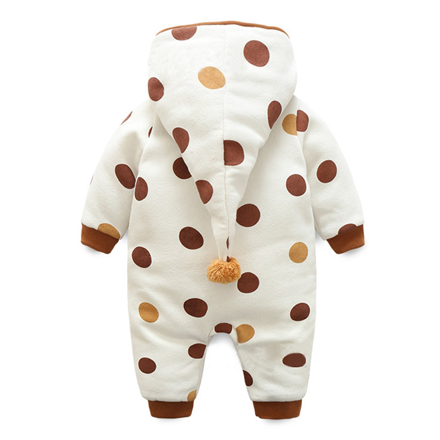 Evelin LEE Warm Baby Boys Girls Spot Print Romper Zipper Hooded Jumpsuit Outfits 0-2 years old