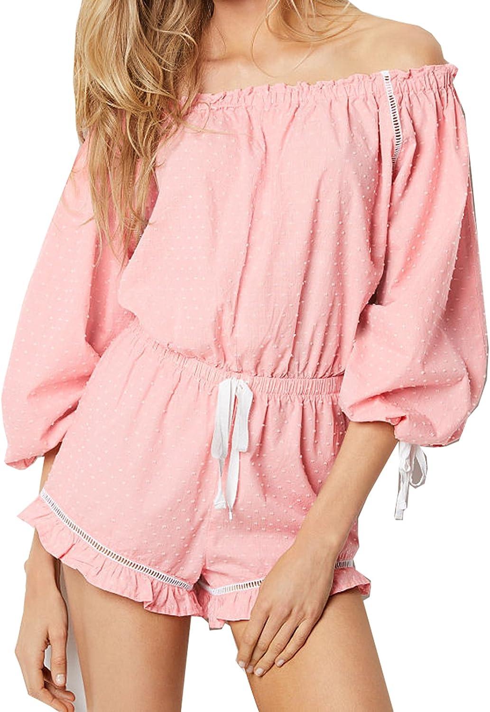 Victorias Secret Pink /& White Polka Dots Lightweight Off-The-Shoulder Romper Large