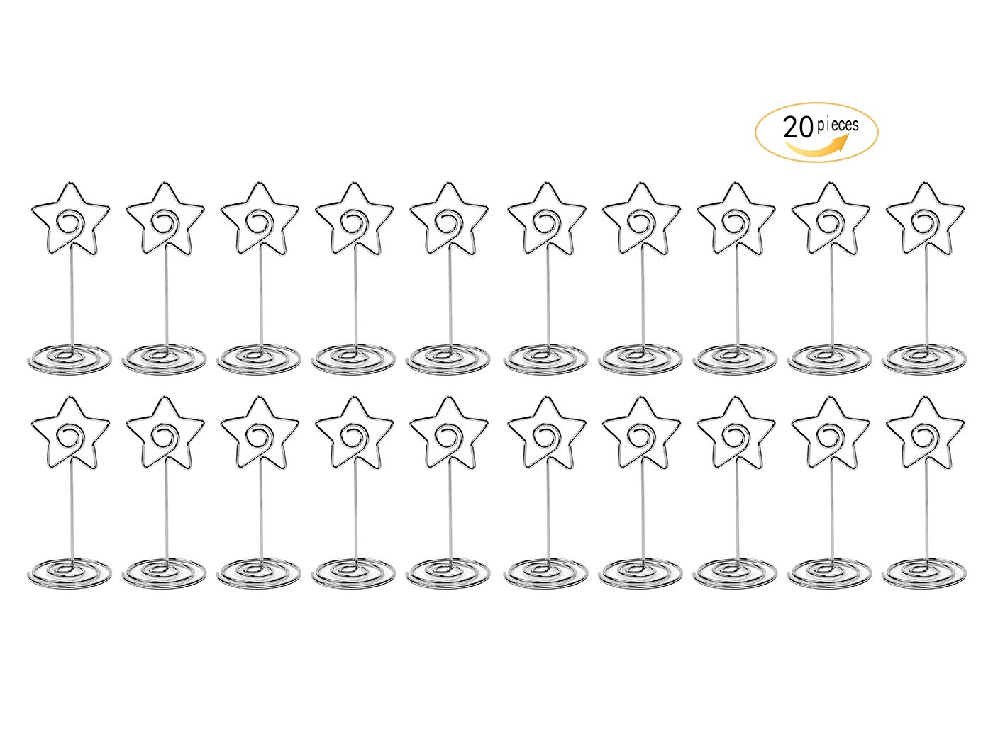 20 Pcs 85mm Tall Star Shape Metal Table Number Holder Stands for Weddings Party Gatherings, Place Card Holder,Photo/Picture Holder
