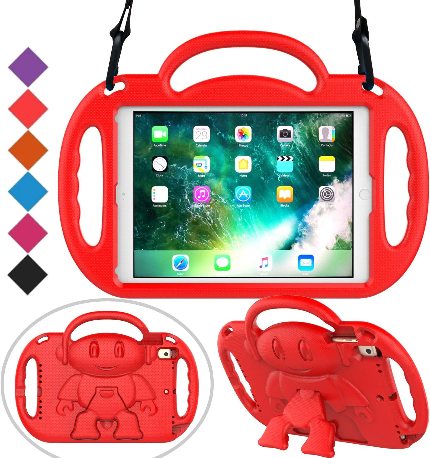 BMOUO Kids Case for New iPad 9.7 inch 2017/2018 - Shoulder Strap Shockproof Protective Handle Kickstand Case Cover for iPad 9.7 inch 2017 2018 / iPad Air/iPad Air 2 (Red)
