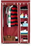 Harisons Homes Foldable Wardrobe with 5 Shelves (Red)