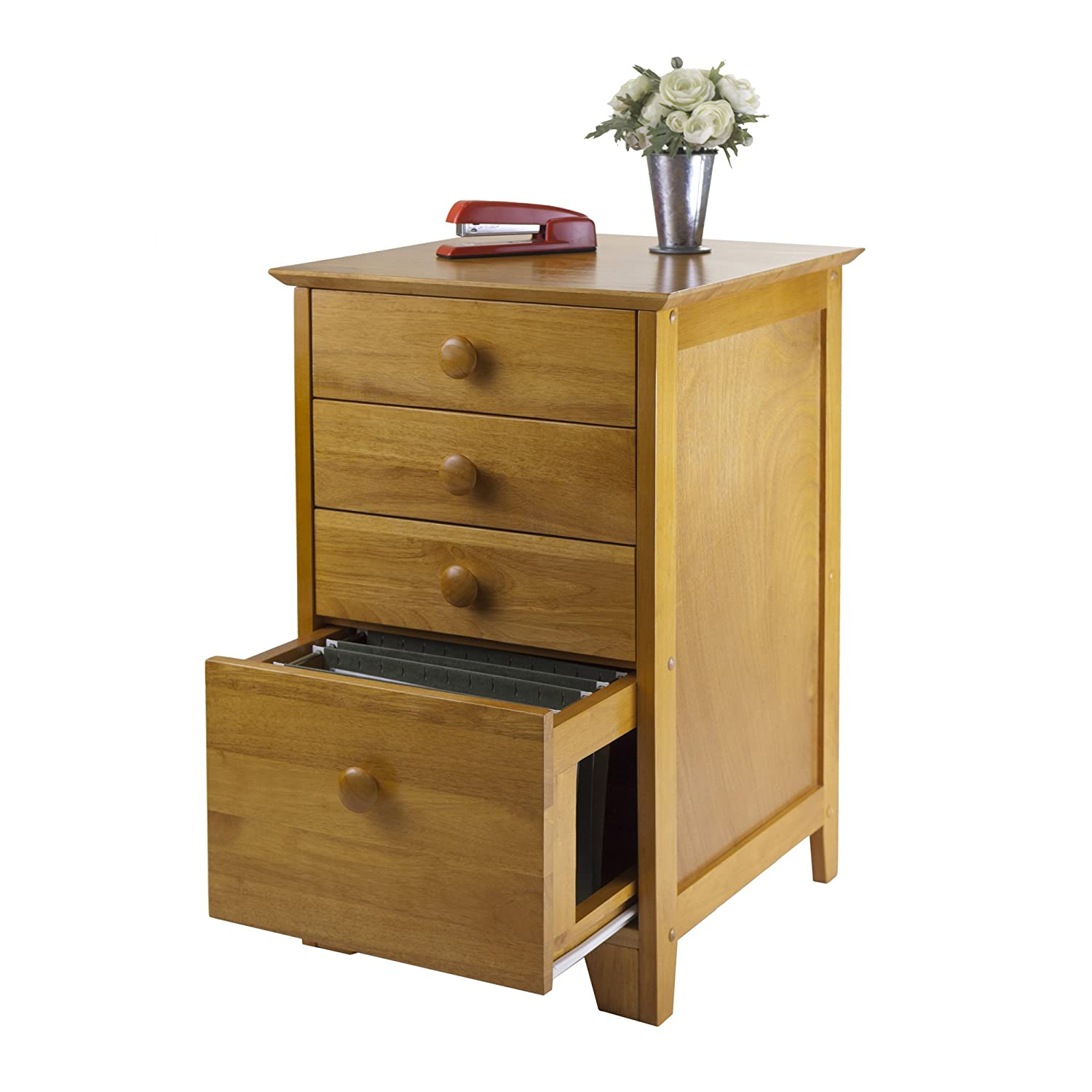 amazoncom honey pine filing cabinet extra storage drawers kitchen u0026 dining