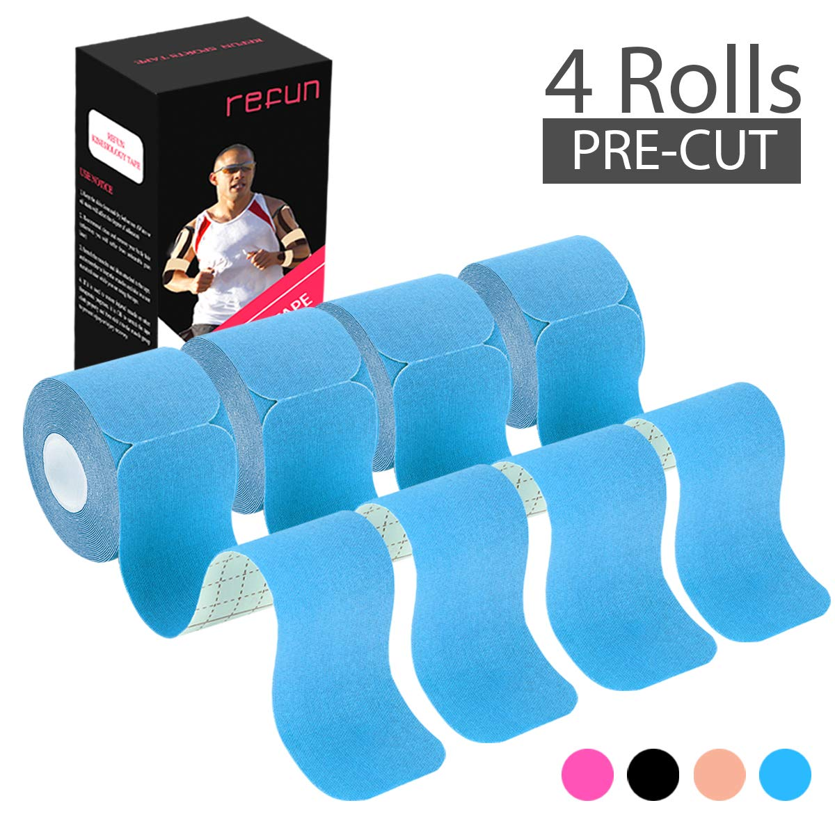 REFUN Kinesiology Tape Precut (4 Rolls Pack), Elastic Therapeutic Sports Tape for Knee Shoulder and Elbow, Pain Relief, Waterproof, Latex Free, 2'' x 16.5 feet Per Roll, 20 Precut 10 Inch Strips