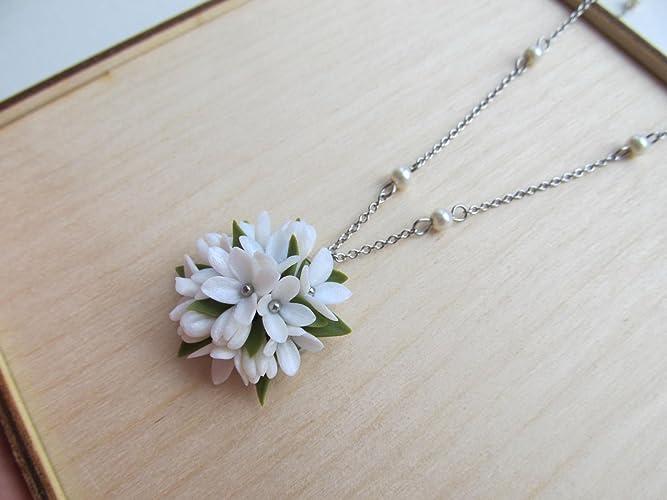Pearl white small flower pendant handmade green and white floral pearl white small flower pendant handmade green and white floral necklace beaded chain hypoallergenic jewelry tiny mightylinksfo