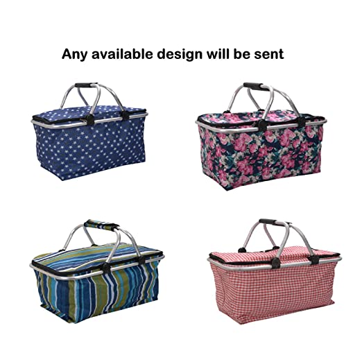 Scrafts Multipurpose Waterproof Outdoor Camping Folding Shopping Basket/Storage Bags Size: LBH(Inches)- Assorted, Multicolor