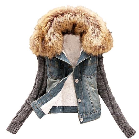 Minetom Damen Herbst Winter Stilvoll Großer Plüsch Kragen Denim Jacken Beiläufig Stricken Langarm Jeansjacke Warm Mantel Outwear