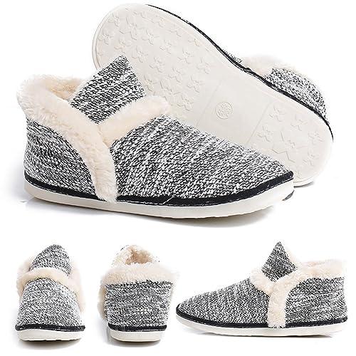 12440615752c pestor Women's Mid Calf Boot Slippers Winter Warm Indoor Outdoor Slipper  Snow Bootie Boots Shoe (