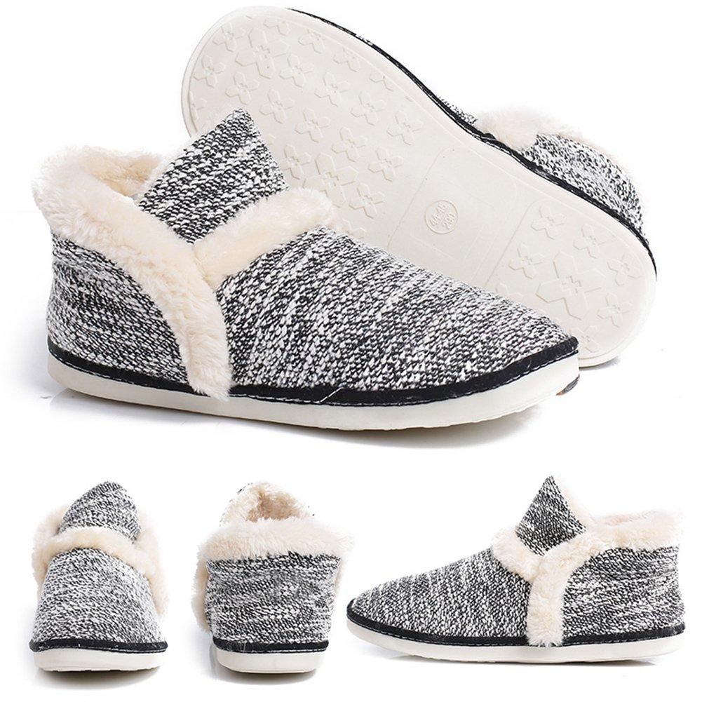 pestor Women's Mid Calf Boot Slippers Winter Warm Indoor Outdoor Slipper Snow Bootie Boots Shoe (9.5-10, Black)