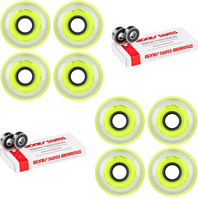 Labeda Millennium Gripper Yellow Hockey Inline Wheels 72mm X-SOFT 8 Pack Swiss by Labeda