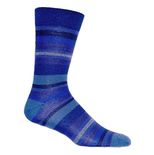 5e98c9064b09 Alpaca Blend Blue Stripes Dress Socks (LC14) (Large) at Amazon Men's ...
