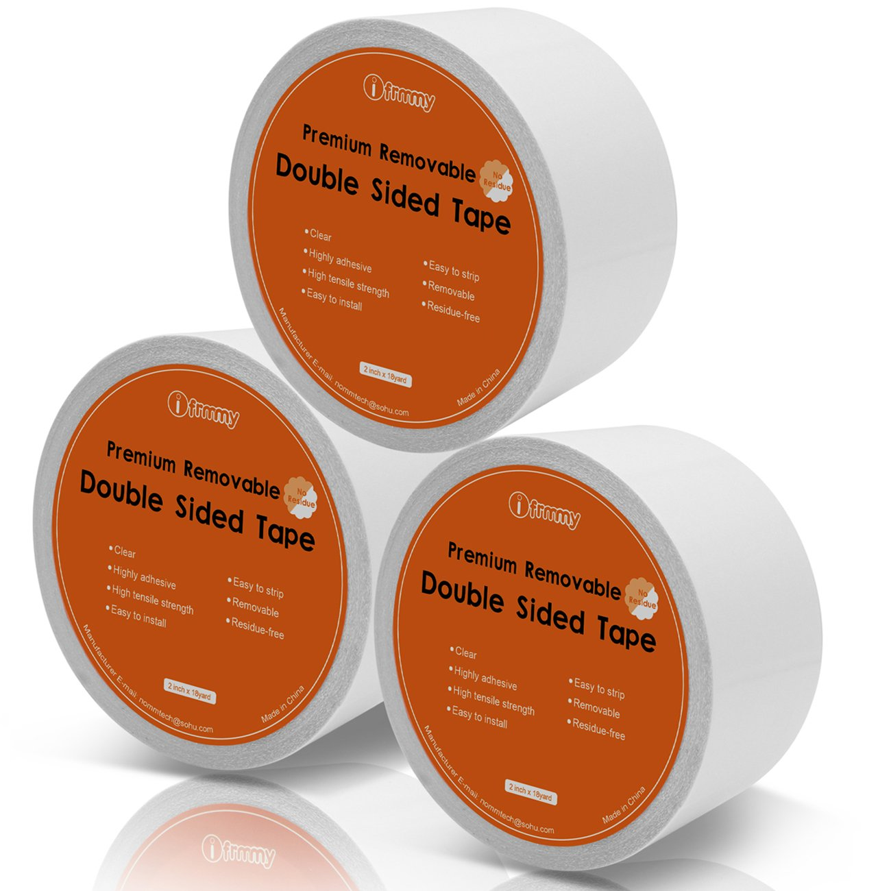 Removable Clear Double Sided Sticky Tape - No Residue, 2 inches x 20 Yards (3 Rolls) by I FRMMY
