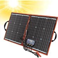 DOKIO - Kit de panel solar de 80W monocristalino portátil plegable para carga de batería de 12 V con controlador de salida USB, impermeable para camping, caravana, barco