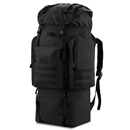 Gonex Large Capacity 100L Hiking Camping Backpack Internal Frame 900D  Tactical Mountaineering Pack (Black) 7c70c23cd2ea9