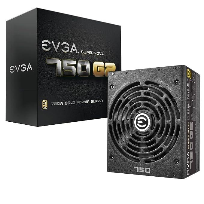 EVGA Supernova 750 G2, 80+ Gold 750W, Completamente Modular, Modo EVGA Eco, Incluye Auto probador de Encendido Gratis, Fuente de alimentación 220-G2-0750-X2