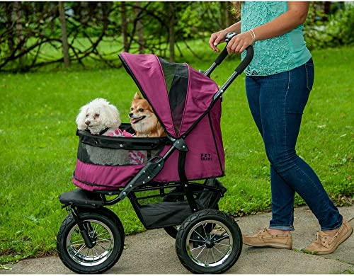 Pet Gear NO-ZIP Double Pet Stroller, Zipperless Entry, for Single or Multiple Dogs Cats, Plush Pad Weather Cover Included, Large Air Tires