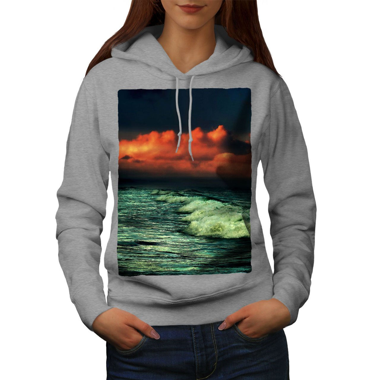 Ocean Hooded Sweatshirt wellcoda Dark Sea Wave Dawn Womens Hoodie
