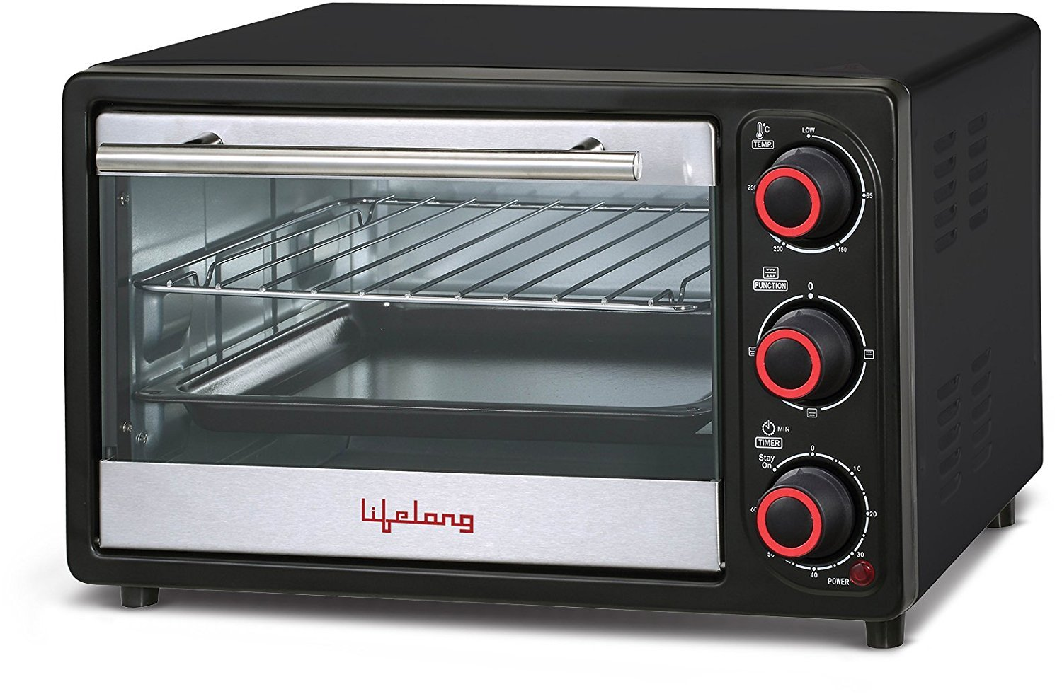 Lifelong 16L 1200-Watt Oven Toaster Griller, Black