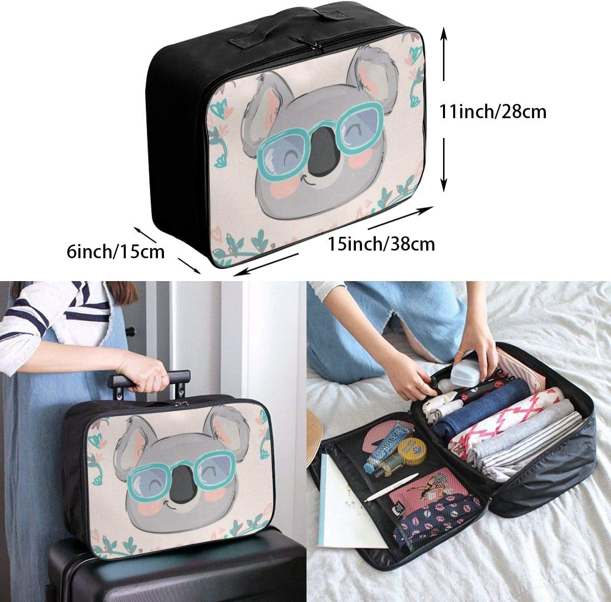 Travel Bags Koala In Sunglasses Portable Duffel Fantastic Trolley Handle Luggage Bag