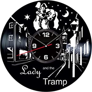 Lady and The Tramp Wall Clock Made of Vintage Vinyl Records - Stylish clock and Amazing Gift Idea – Unique Home Decor – Personalized Presents for Men Women Kids – Great for Living Room Bedroom Kitchen
