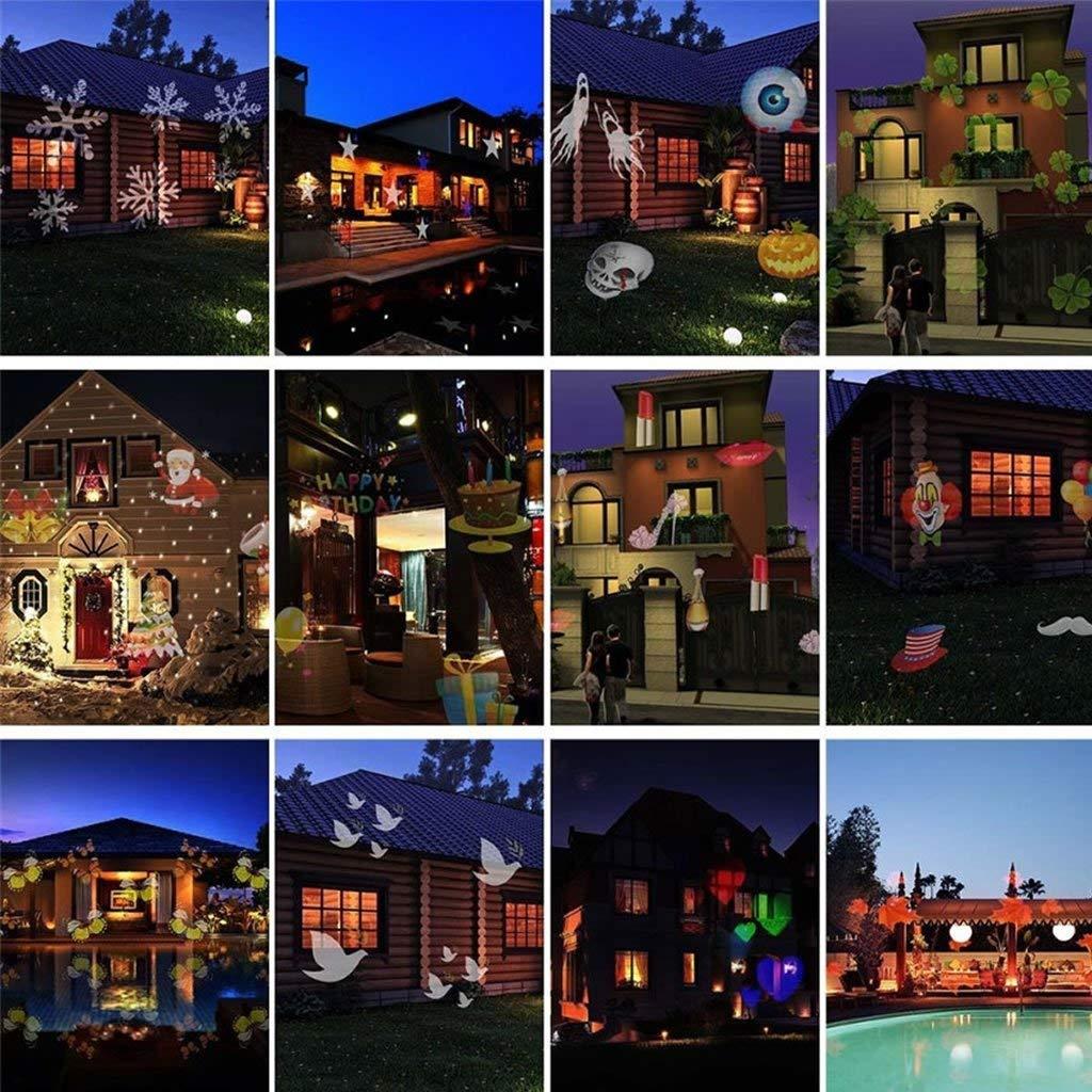 Projecteur LED Mouvement Flocon de Neige Lumineux, Lumiere Decoration de  Projecteur Pere Noel Exterieur, 81ace2f3b009