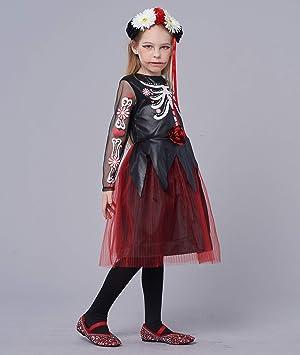 Day of the Dead ragazze Halloween fantasia Abito Scheletro non morti Kids Bambino Costumi