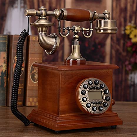 Decorative Antique Wooden Telephone with Digital Caller ID Display Gift Phone