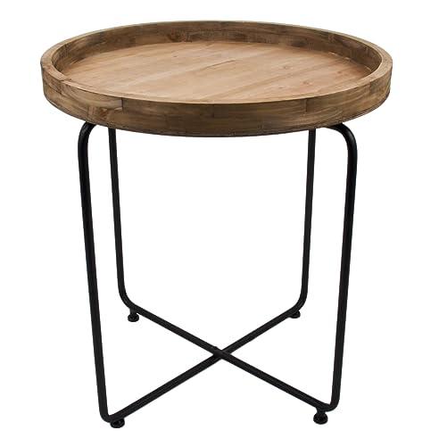 Beistelltisch metall holz  Beistelltisch rund Vintage Design Metall Holz schwarz braun Tisch ...