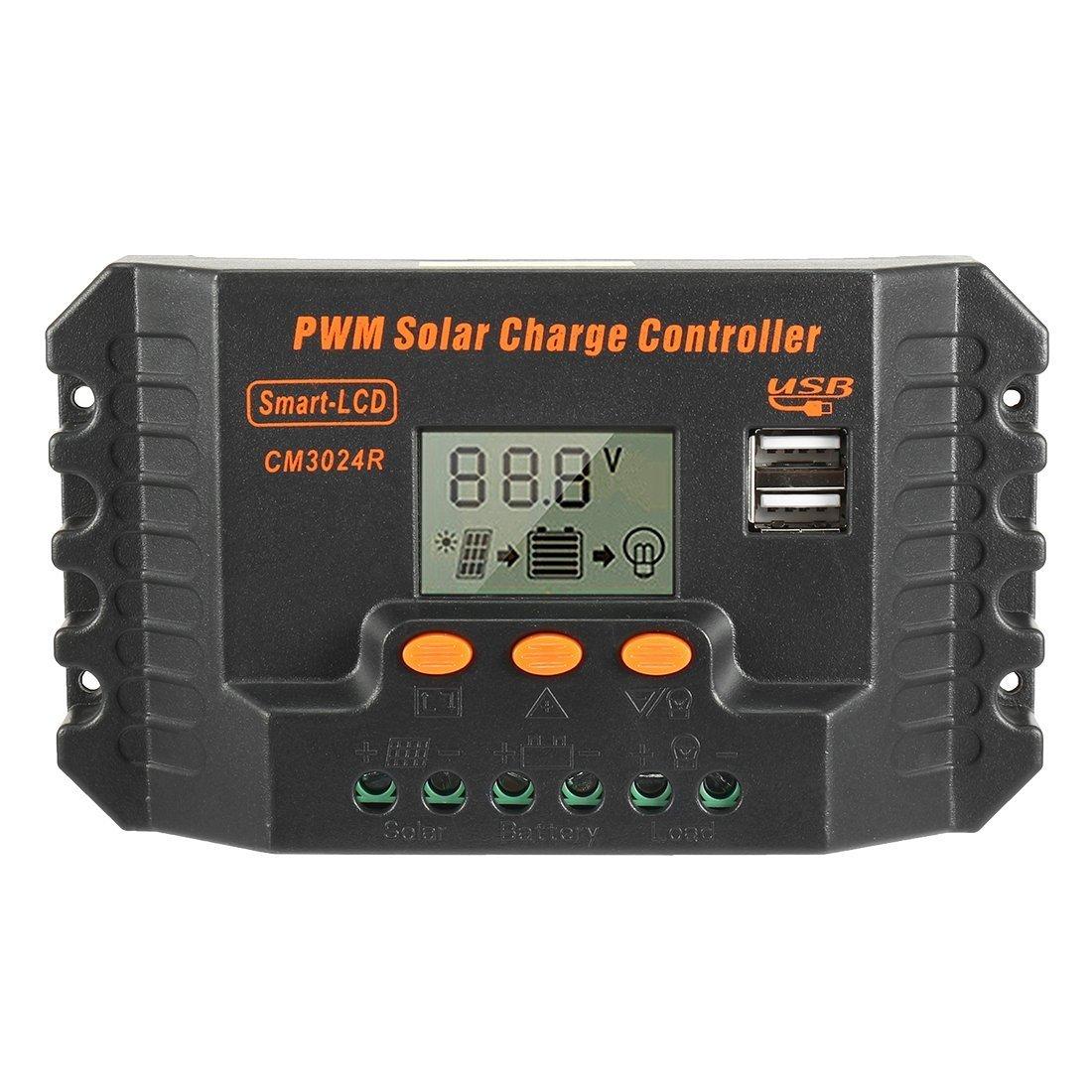 MOTOPOWER MP69021 30A PWM Solar Panel Charge Controller 12V-24V Battery Regulator