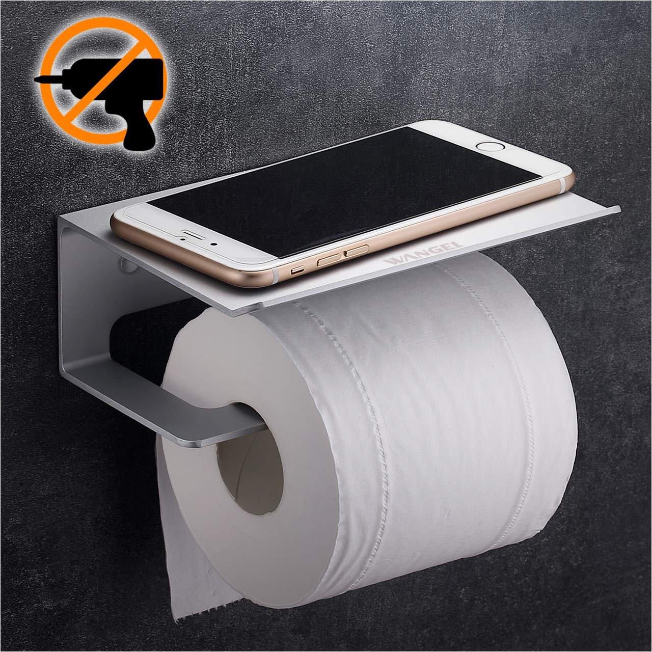 Wangel Toilettenpapierhalter mit Regal fü r Mobiltelefon, ohne Bohren, Patentierter Kleber + Klebestreifen, Aluminum, Matte Finish