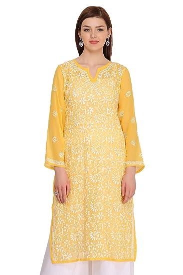 Ada Designer Handmade Lucknow Chikan Regular Wear Faux Georgette Kurti A90321 X Small