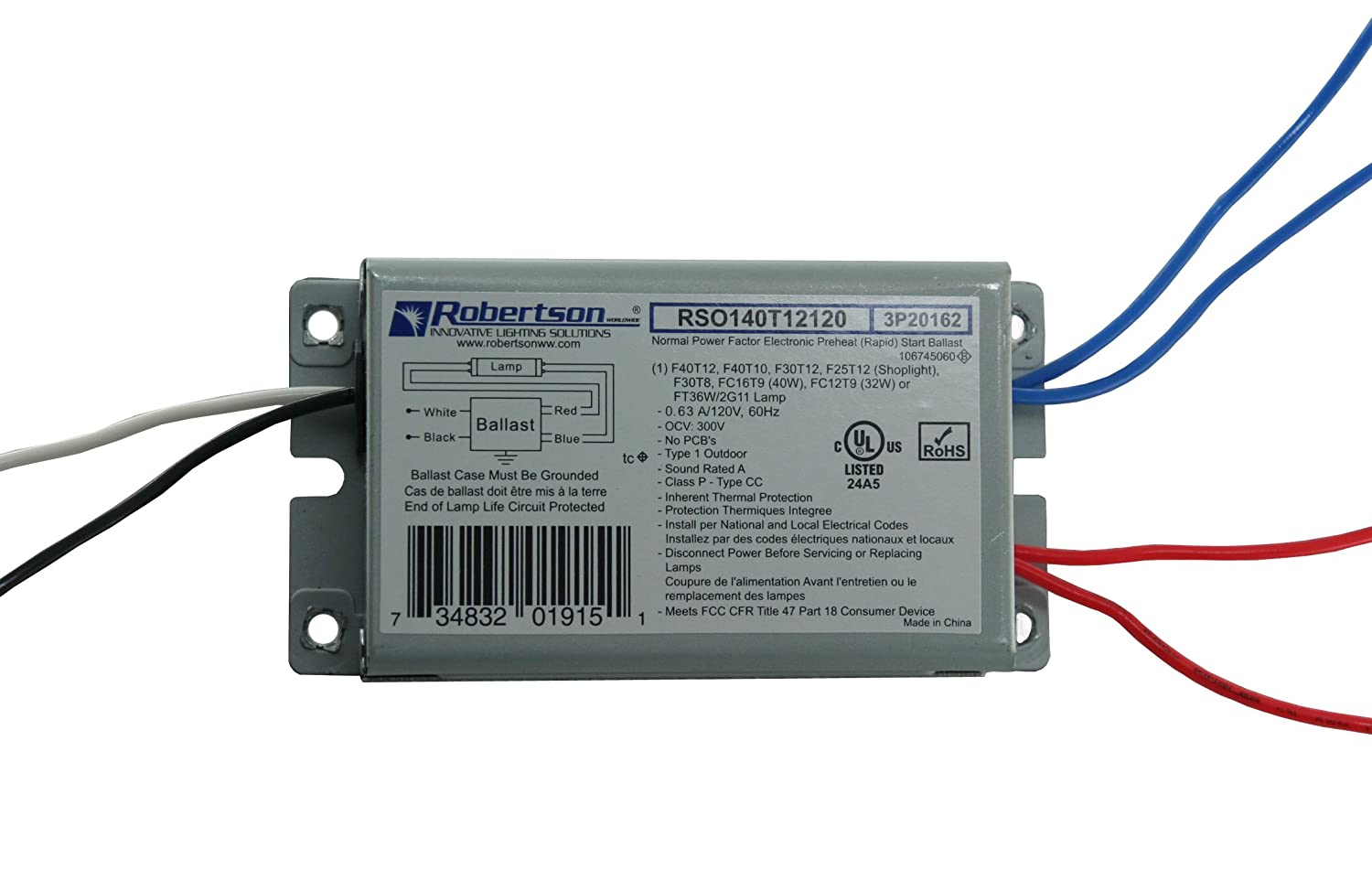 Robertson 3p20162 Fluorescent Eballast For 1 F40t12 Linear Lamp Ballast Wiring Diagram Preheat Rapidstart 120vac 50 60hz Normal Factor Npf Model Rso140t12120