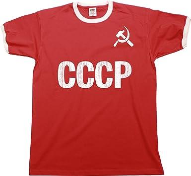 285518651 Amazon.com  CCCP Soviet Union Russia Mens Ringer T-Shirt Retro Style   Clothing