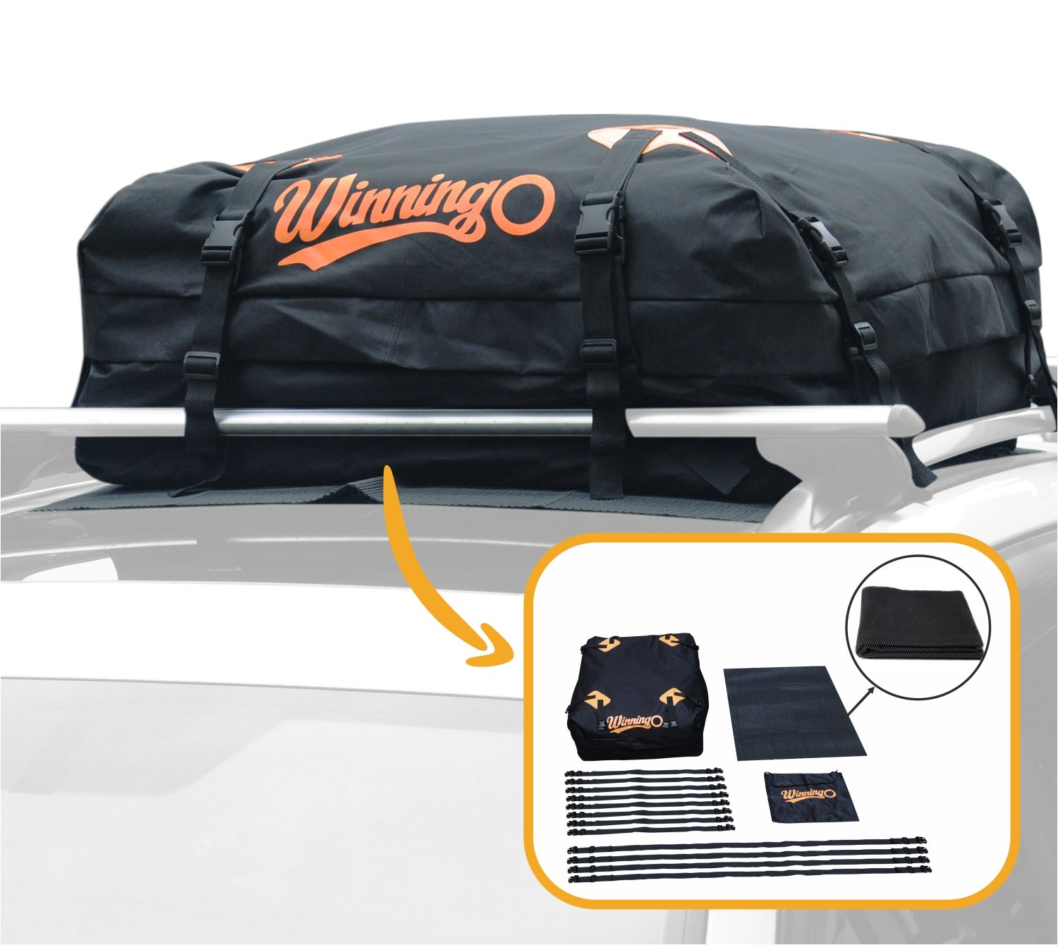 WINNINGO Cargo Bag, Water Resistant Cargo Bag Easy to Install Soft Rooftop Luggage Carriers Works with or Without Roof Rack (Free Protective Mat)