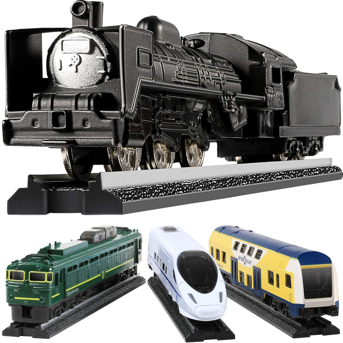 GEYIIE  Alloy Kids Trains Set Toys, Railway Play Toys 4 Pack With 6 Tracks for Boys, Girls, Classical , Metro Style Train Educational Birthday Toys by Geyiie