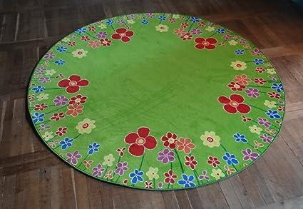 Kinderteppich blumenwiese  Kinderteppich Blumenwiese 130 cm rund: Amazon.de: Küche & Haushalt