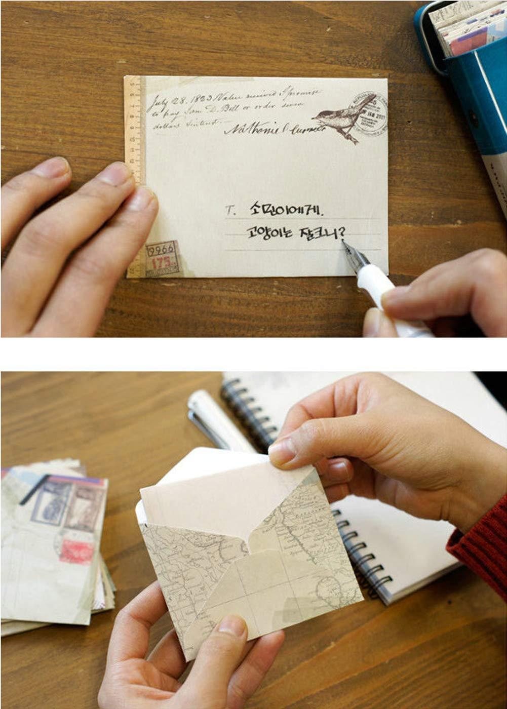 Yeelan 60pcs Retro Busta Vintage Pocket regalo carta di carta lettera per Natale//Ringraziamento//Nozze//Festa di compleanno ecc Mini formato:7,2 X 9,5 cm//2,8 X 3,8,stile europeo
