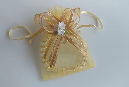 Amazon.com: 12 bolsas de organza doradas con pulseras de ...